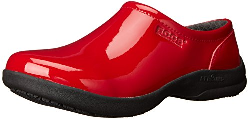 Bogs Women's Ramsey Patent Leather Slip Resistant Work Shoe, Red, 10 M US (Clog Red Patent)