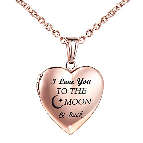 (YOUFENG Love Heart Locket Necklace That Holds Pictures Engraved I Love You to The Moon and Back Photo Lockets Rose Gold Plated (Rose Gold Locket) )