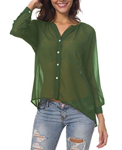 TIMEE Women's Fashion Sheer Chiffon Long Sleeve Shirts Blouses Tops Green M (Chiffon Blouses And Tops)