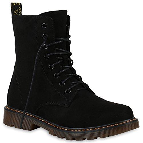 Stiefelparadies Damen Stiefeletten Profilsohle Worker Boots Stiefel Leicht Gefüttert Flandell Schwarz Schnürer