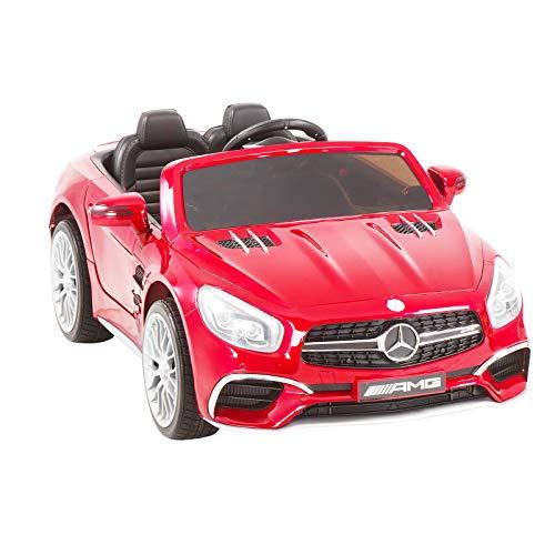 Uenjoy 12V Kids Ride On Car Licensed Mercedes-Benz SL65 AMG Roadster Electric Car Kiddie Ride Fun & Remote Control & LED Lights & Spring Suspension & Safety Lock Red