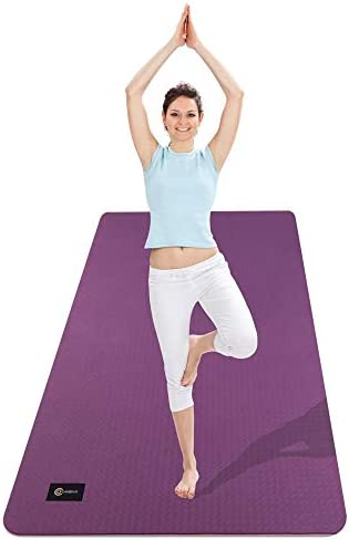 """CAMBIVO Extra Wide Yoga Mat for Women and Men (72""""x 32""""x 1/4""""), Eco-Friendly SGS Certified, Large TPE Exercise Fitness Mat for Yoga, Pilates, Workout"""
