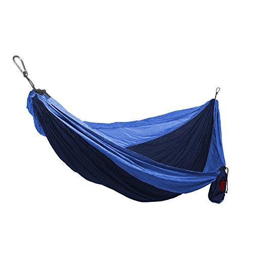 Grand Trunk Double Parachute Nylon Hammock, Navy/Light Blue: Portable with Carabiners and Hanging Kit - Perfect for Outdoor Adventures, Backpacking, and Festivals by Grand Trunk