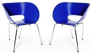 Vitra Stuhl Modell Tom Vac Gestell In Chrome Blau
