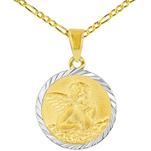 (14k Yellow Gold Round Baptism Charm Guardian Angel Textured Medallion Pendant Figaro Chain Necklace, 20