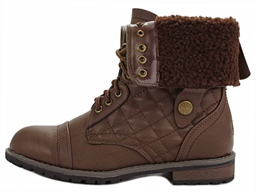 Brown Plaid Lace Back Quilted Cuff Combat Boots Up Faux Leather fur Zipper lined Military Foldable Women qOYagv