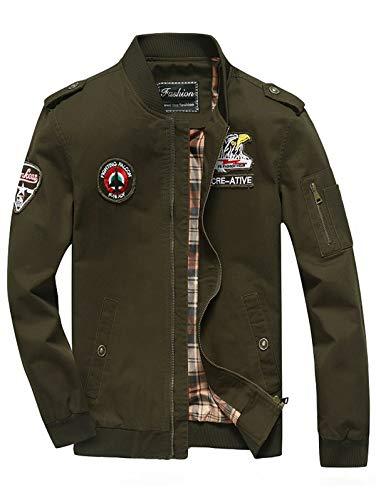 YaSaShe Mens Clothing Ribbded Appliques Epaulet Zip Up Bomber Polyester Jacket (Green, XXL) ()