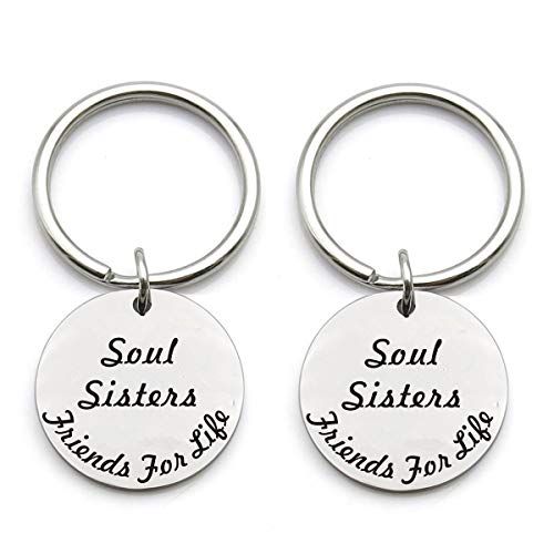 Set of 2 Best Friends Gifts Soul Sisters Friends for Life Matching Stainless Keychain Jewelry Inspirational Gift for Best Friends BFF Gifts