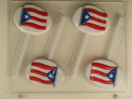 Flag of Puerto Rico on oval background SPL019 Spanish Language Chocolate Candy Mold