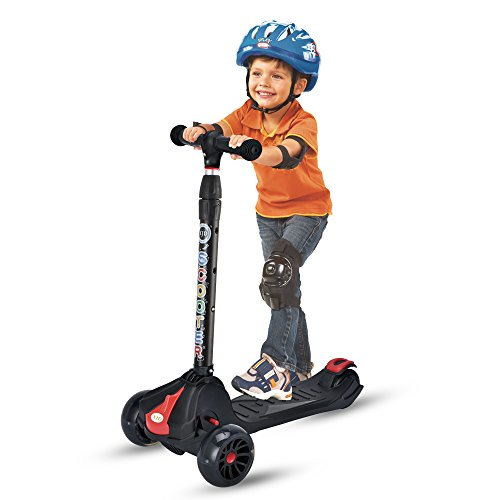 XJD Kick Scooters for Kids Ages 3 to 8 Years Old Lean to Steer 3 Wheel 4 Adjustable height 5cm Flashing Big Wheels Folding Handlebar 100 assembled