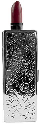 (Boxed Travel Lipstick Case With Mirror (Silver Victorian Print) )