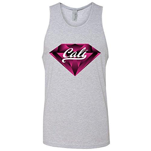 Amazing Items California Republic Cali Pink Diamond Men's Tank Top, Medium, Heather Grey