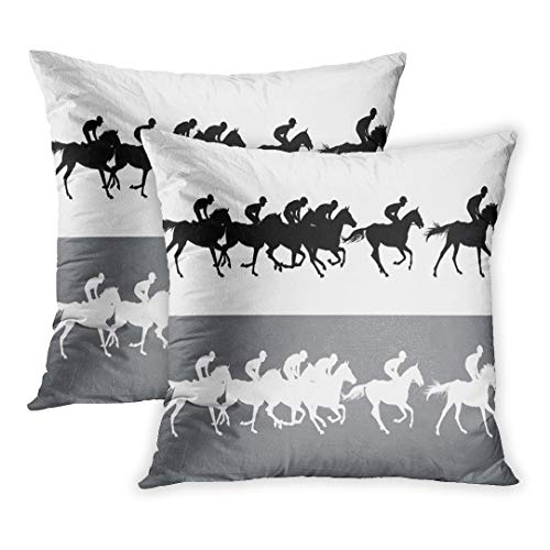 Covers of 2 Sets, Horse Racing Jockeys on Horses Galloping Racetrack Black and White Silhouettes of Riders Light and Dark Decor Zippered Square Size 20 x 20 Inches Pillowcase ()