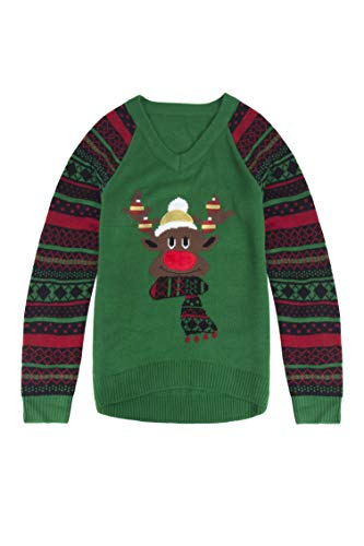 Pink Queen Unisex Ugly Christmas Xmas Pullover Sweater Jumper Reindeer L