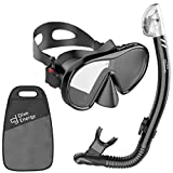 Dive Energy 2019 Adult Dry Snorkel Set with Adjustable Dual Strap - Enjoy Swimming, Snorkeling, Scuba Diving with Anti-Fog Tempered Glass Mask and No Leaks Dry Top Snorkel with Silicon Mouth Piece