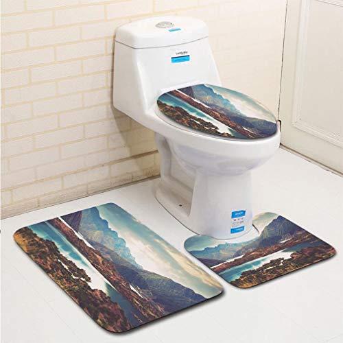 (MTSJTliangwan 3-Piece Bathroom Set, Bathroom Rug + Contour pad + lid Toilet seat, Lake Near Potrerillos RN 7 Andes Argentina Comfortable Flannel Rug)