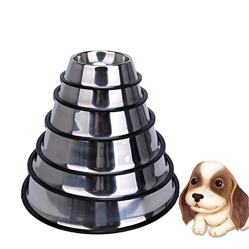 Luck Dawn Stainless Steel Dog Bowl, 6 Sizes Cat Food Water Bowl with Anti-Skid Rubber Base
