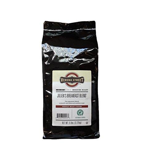 Verena Street 5 Pound Whole Bean Coffee, Medium Roast, Julien's Breakfast Blend, Rainforest Alliance Certified Arabica Coffee