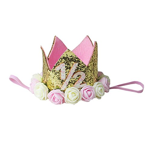 Kirei Sui Baby Pink Cream Rose Gold Sparkle Birthday Crown Headband 1/2