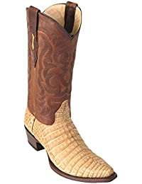 Men's Sinp Toe Miel Greasy Finish Genuine Leather Caiman Belly Skin Western Boots - Exotic Skin Boots