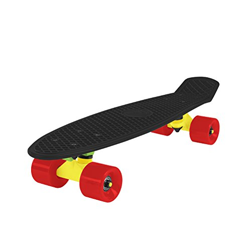 Cal 7 Penny Style Skateboard Complete 22 Inch Standard Cruiser (Black/Yellow+Green/Red) (Cruiser Board Trucks)