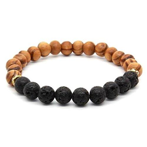 Original Grain Lava Stone Elastic Wooden Bracelet (Original Watch Bracelet)
