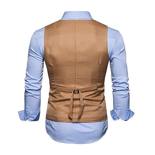 Chameau Double M Sans Boutonnage Slim Casual Homme Fit Boutons Gilet Veste Vintage Manches Costume Couleur Demiawaking Unie Business Mariage 6Twq41S