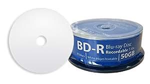 DIGISTOR 50GB Professional Grade Blu-ray 6X BD-R Media White Inkjet Printable Surface (25 pack)