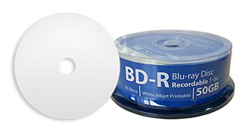 DIGISTOR 50GB Professional Grade Blu-ray 6X BD-R Media White Inkjet Printable Surface (25 pack) by DIGISTOR