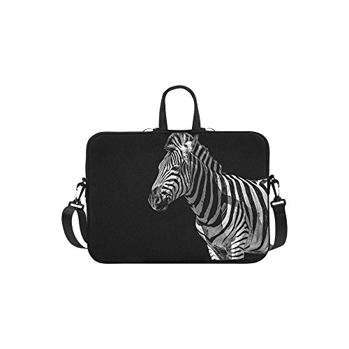 InterestPrint Animal Zebra Laptop Sleeve Case Bag, Zebra Shoulder Strap Laptop Sleeve Notebook Computer Bag 13.3 Inch for Macbook Pro Air HP Dell
