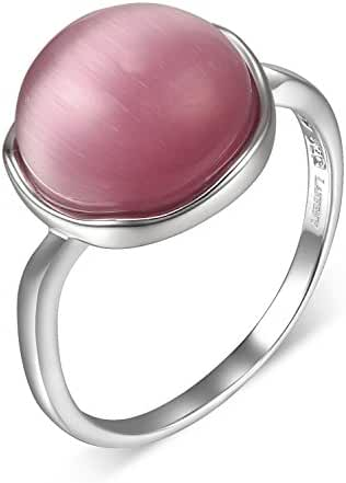 Lanfeny Rhodium Plated 925 Sterling Silver Ring with Simulated Multi-Color Cat's Eye Ball,Size 6 7 8 9