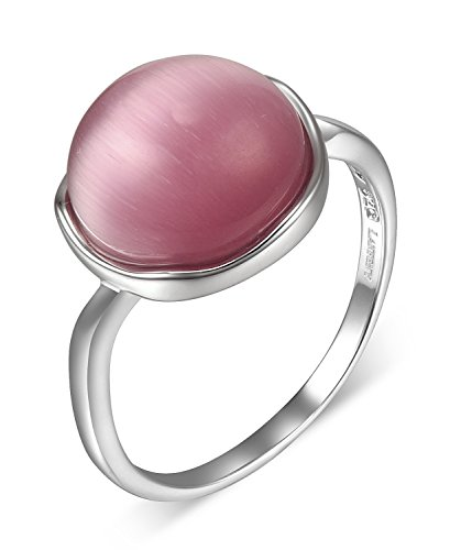 Lanfeny Rhodium Plated 925 Sterling Silver Ring with Simulated Watermelon Pink Cat's Eye Ball Solitaire,Size 8 by LANFENY (Image #6)