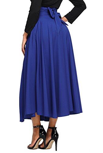 Asvivid Women's Elastic Waist Full Ankle Length A-Line Flared Swing Skater Skirts Medium Blue