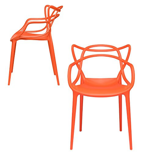 Set of 2 – Masters Entangled Chair – Modern Designer Armchairs for Dining Rooms, Offices and Kitchens (Orange) For Sale