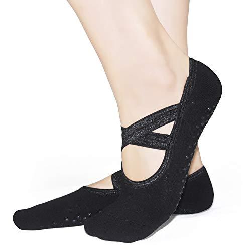 Pilates Socks Yoga Barre Ballet For Women - Elutong 1-3 Pairs Sticky Gripper Slipper Non Slip Grips Socks Sox