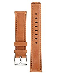 Signature Traveller watch band. Replacement watch strap. Genuine leather. Silver Buckle (20 mm, Wood)