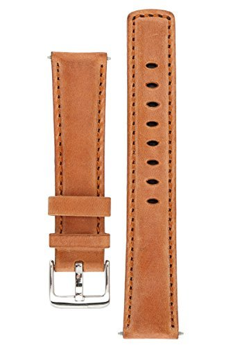 Signature Traveller 24 mm Wood watch band. Replacement watch strap. Genuine leather. Silver Buckle