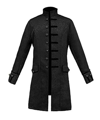 Nobility Baby Mens Goth Steampunk Victorian Frock Coat (L, Black)