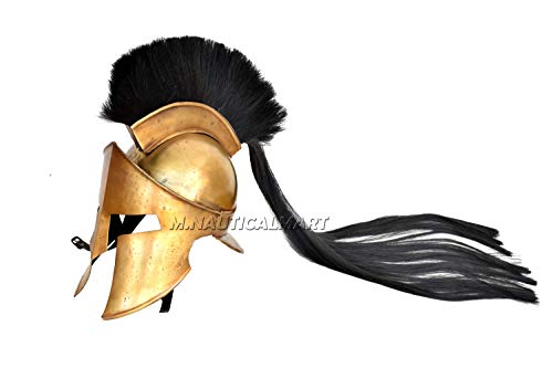 M.Nauticalmart Medieval Greek Spartan 300 Helmet Antique Brass Hollywood Style Handmade with Black Long Hair Grecian Historical Armor -
