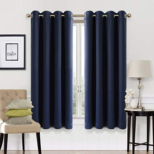 EASELAND 99% Blackout Curtains 2 Panels Set Room Darkening Drapes Thermal Insulated Solid Grommets Window Treatment Pair for Bedroom, Nursery, Living Room,W52xL63 inch,Navy