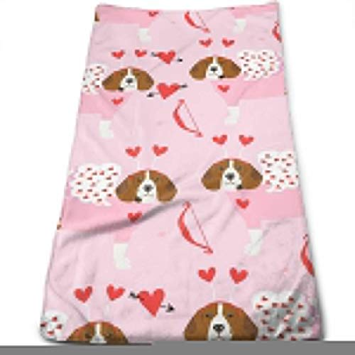 Beagle Love Bug Valentines Day Dog Breed Pink Hand Towels Dishcloth Floral Linen Hand Towels Super Soft Extra Absorbent for Bath,Spa and Gym 11.8