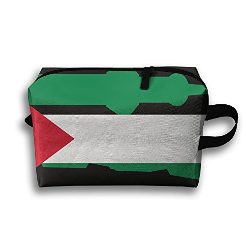 RONG FA Palestine Magnificent And Beautiful Flag Church Portable Travel Makeup Bag,Storage Bag Portable Ladies Travel Square Cosmetic Bag by RONG FA