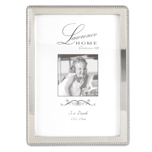 Brushed Silver Bead - Lawrence Frames Metal Picture Frame with Delicate Outer Border of Beads, 5 by 7-Inch, Silver