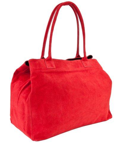 DELARA Capiente borsa shopper inpelle scamosciata, Made in Italy. Colore: rosso chiaro