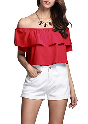 YACUN mujeres del hombro volantes camisa cultivo Red