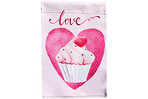 Valentines Day Love Cupcake in Heart Garden Flag; 12 inches by 18 inches; Double Sided Reads Correctly Both Sides