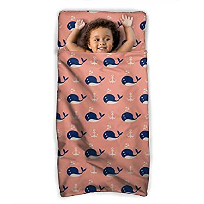 Bargburm Cute Whales and Anchors Toddler Nap Mat Children's Foldable Premium Kids Soft Sleeping Blanket Pillow Slumber Bag for Boys Girls Preschool Travel 43 X 21 Inch: Home & Kitchen