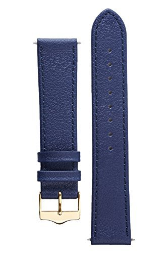 Signature Seasons in Blue 20 mm short watch band. Replacement watch strap. (Watch Chrome Leather Band)
