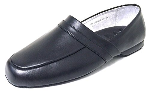 Lining Black Back House Close Door Shoes Wide Loafer Leather Extra Sole BL23A in Comfort Men's Slipper Leather EEE wqI7YT7