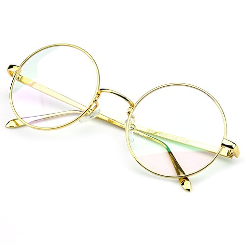ad47c001894 PenSee Circle Oversized Metal Eyeglasses Frame Inspired Horned Rim Clear  Lens Glasses (Gold)